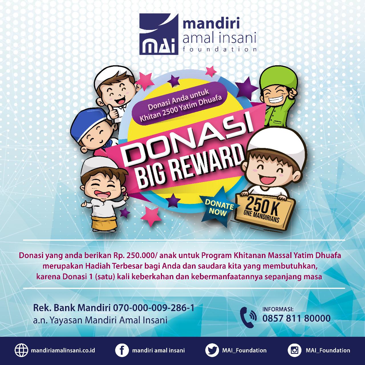Donasi Big Reward 250K, Khitanan Massal 2500 Yatim Dhuafa
